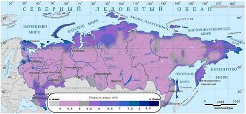 карта ветровых зон