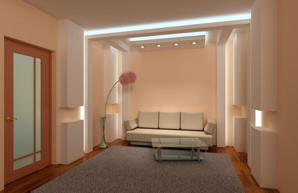 Вариант выполнения зонирования, с использованием точечных светильников и светодиодных лент