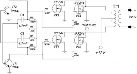 Преобразователь 12/220 В, на транзисторах