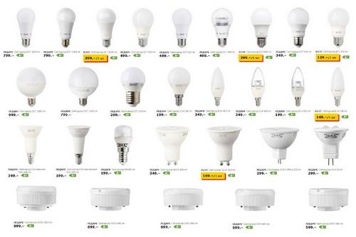 Цены на лампы