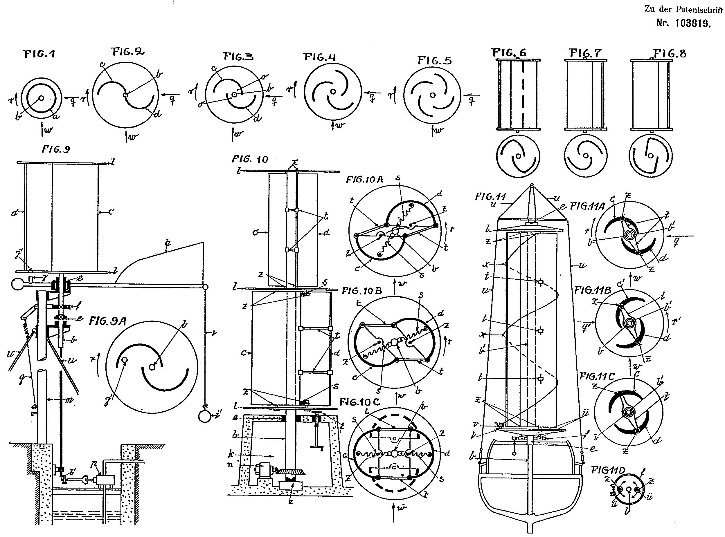 Чертежи из австрийского патента Савониуса 1925